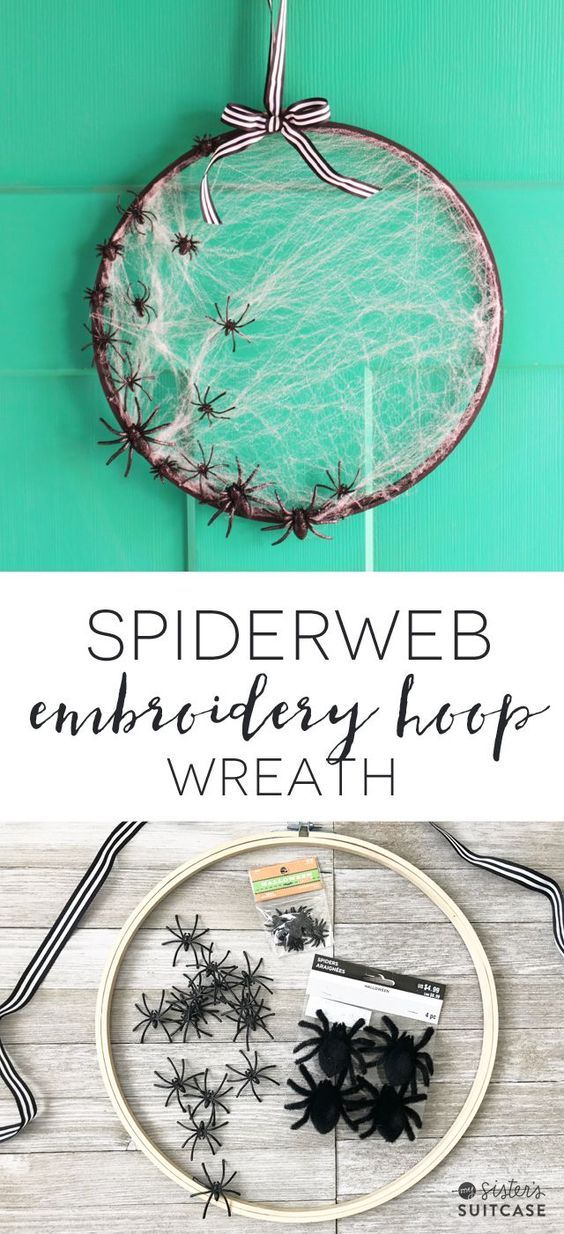 Embroidery Hoop Spiderweb Wreath for Halloween - Make in less than - halloween crafts decorations