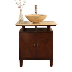 Lydia Dark Chestnut Vessel Single Sink Bathroom Vanity With