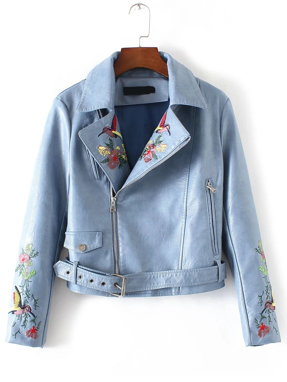 Shop Blue Bird Embroidery Zipper Pu Jacket With Belt Online Shein Offers  Blue Bird Embroidery · Vegan Leather Jacketfaux