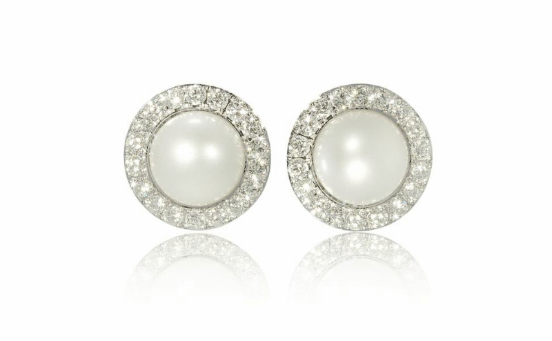 Pearl And Diamond Earrings Set In 18 Carat White Gold
