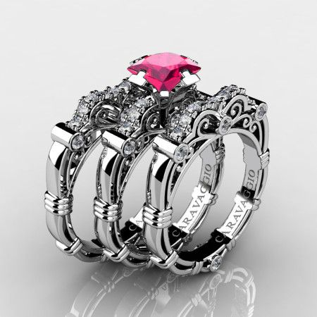 28c5fc8e46b54 Art Masters Caravaggio Trio 14K White Gold 1.25 Ct Princess Pink ...