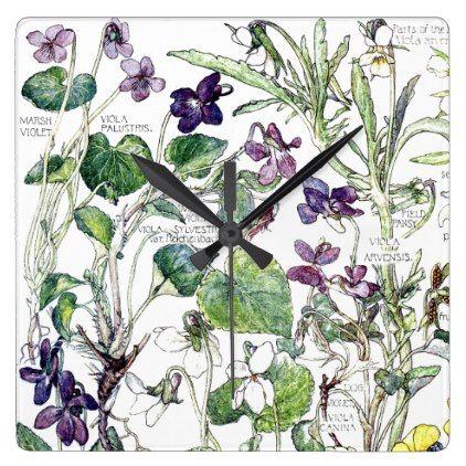 #vintage - #Botanical Violas Violet Family Flowers Wall Clock