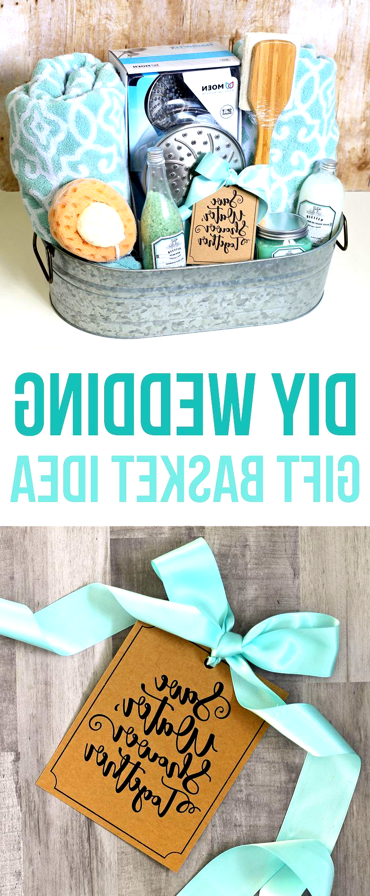 This DIY wedding gift basket idea has a shower theme and includes bath towels, a…
