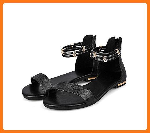 Sakeci Women's Summer Skidproof Sandles Flat Ankle Strap Sandals Black 8.5 D(M) US