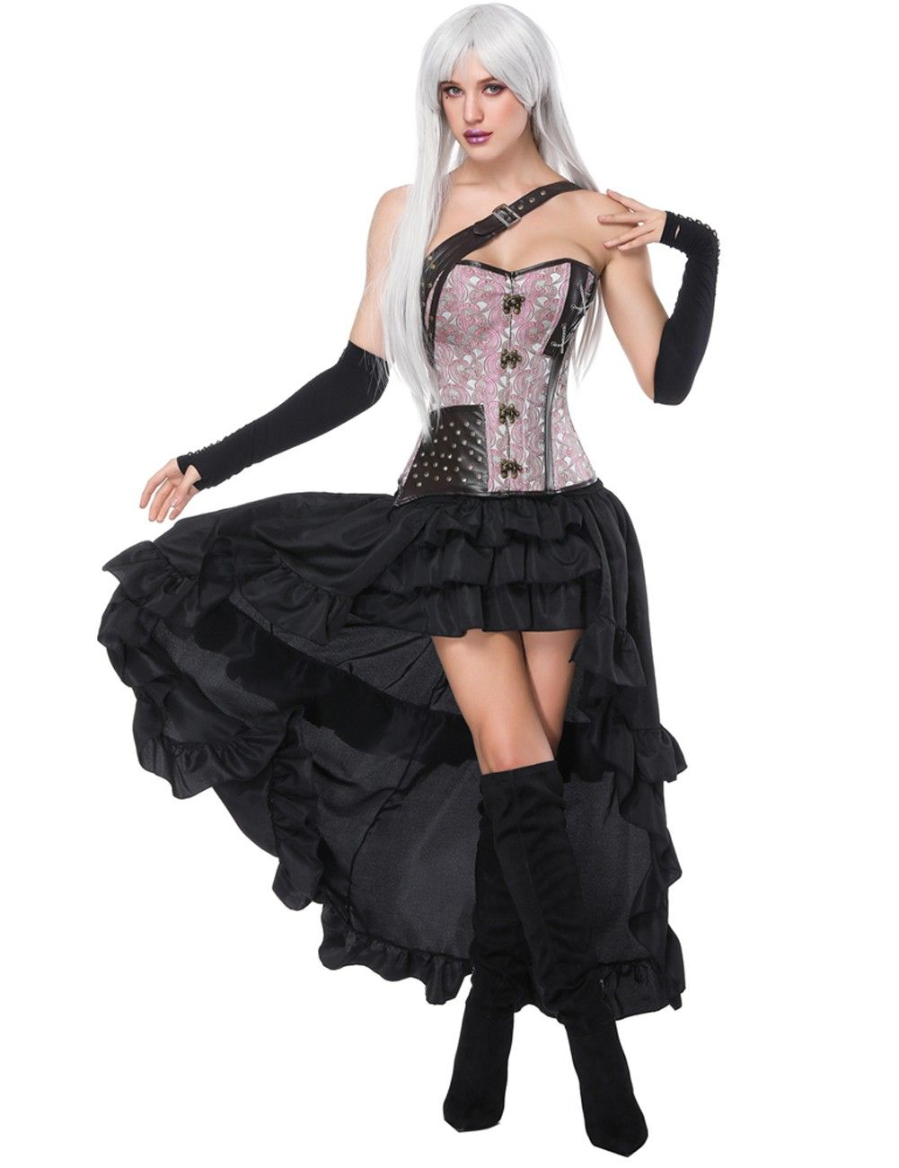 a39caa8612e Flat Out Light Pink Lace Up Corset Skirt Set Chain Cross One Strap ...