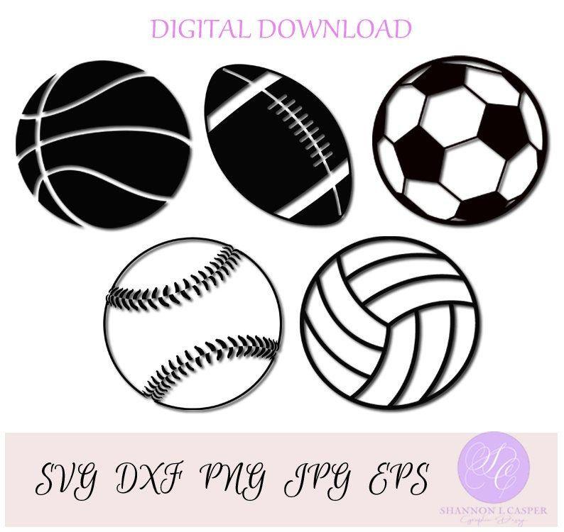 Sports Balls Svg Bundle Volleyball Baseball Softball Soccer Ball Football Basketball In 2020 Sports Balls Soccer Ball Football And Basketball