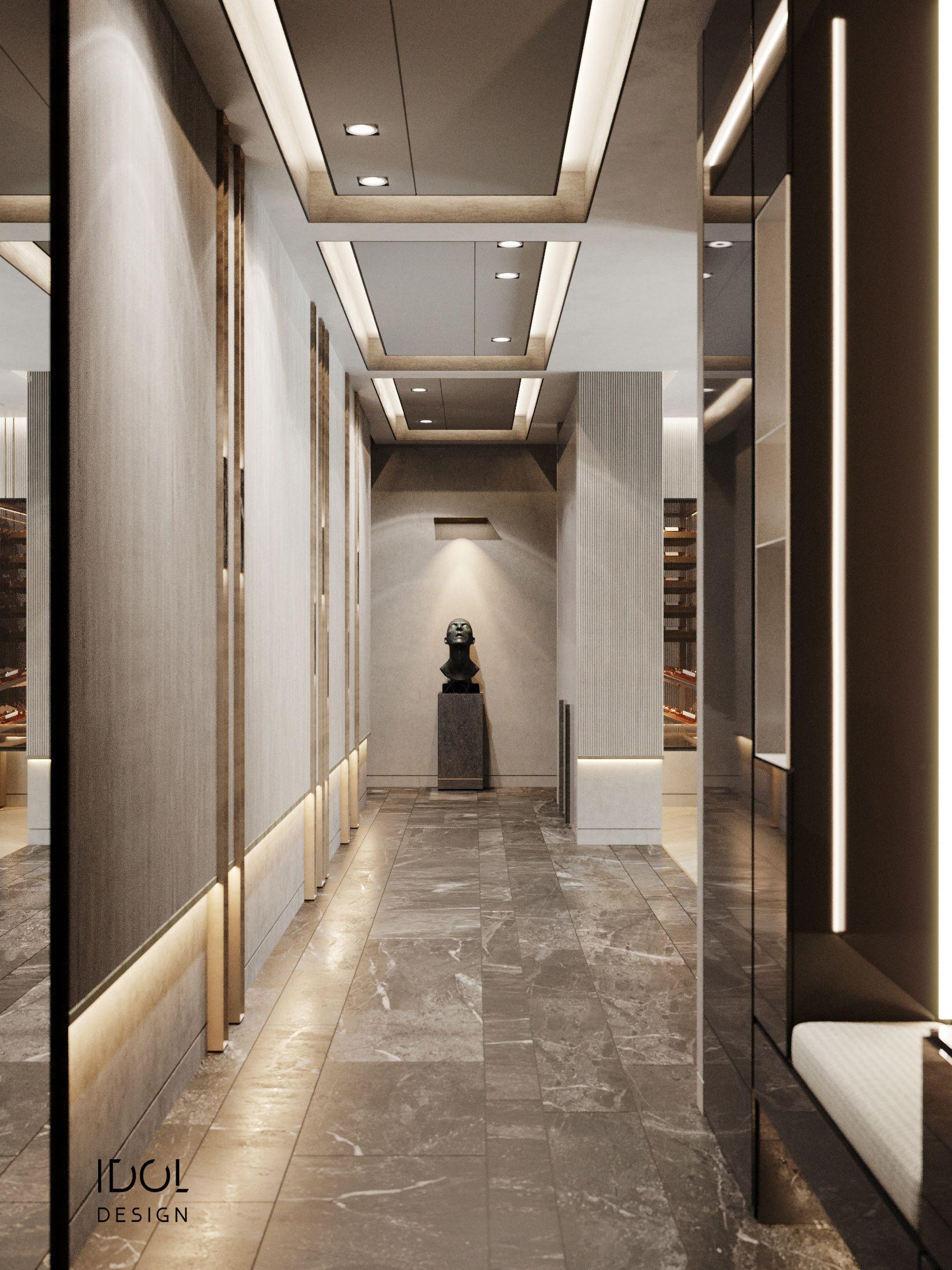 luxury modern hallway. Krestovskiy de luxe.  Hallway designs