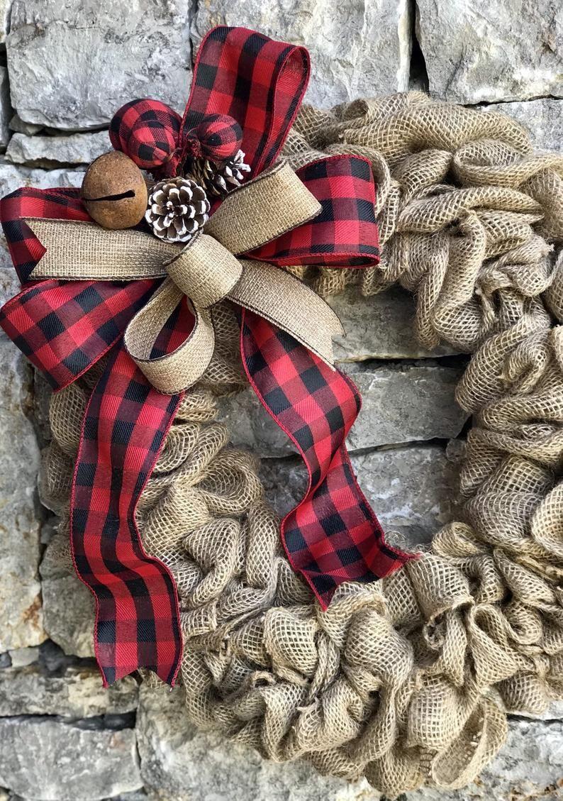 Photo of buffalo plaid farmhouse wreath burlap, monogram farmhouse wreath for front door