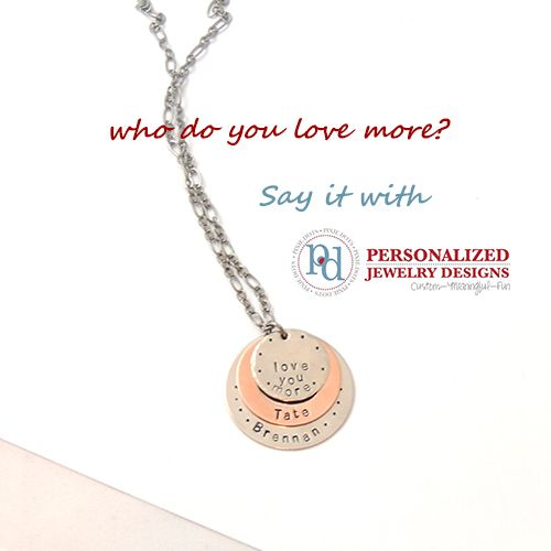 Love you more! Copper and silver name necklace from Pixie Dots. www.pixiedots.com