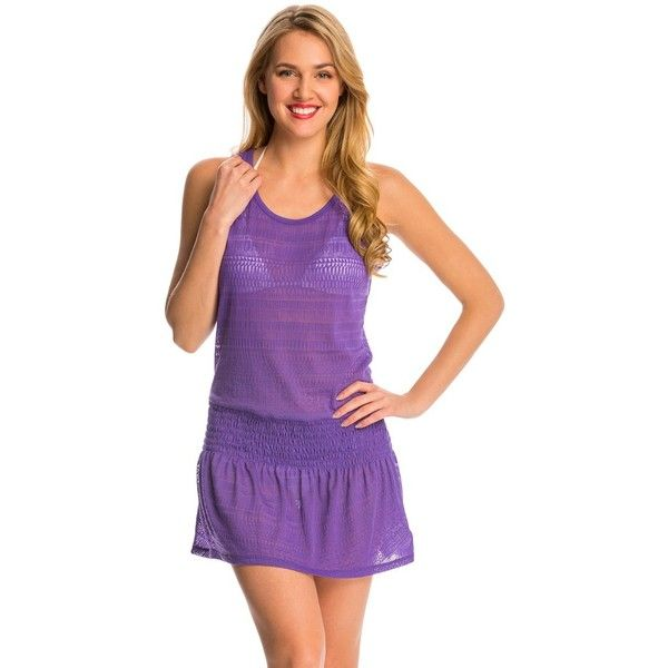 Prana Womens Zadie Dress (86 CAD) ❤ liked on Polyvore featuring dresses, ultra violet, tank dress, purple cocktail dress, violet dress, scoop neck cocktail dress and burnout dress
