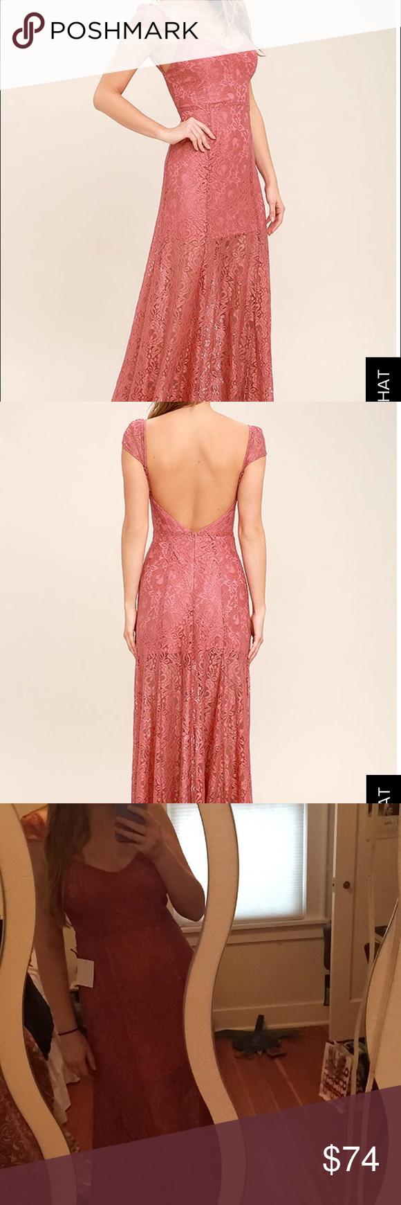 Lulus wedding guest dress  Luluus Evening Dreamy Rusty Rose Lace Maxi Dress Beautiful rusty