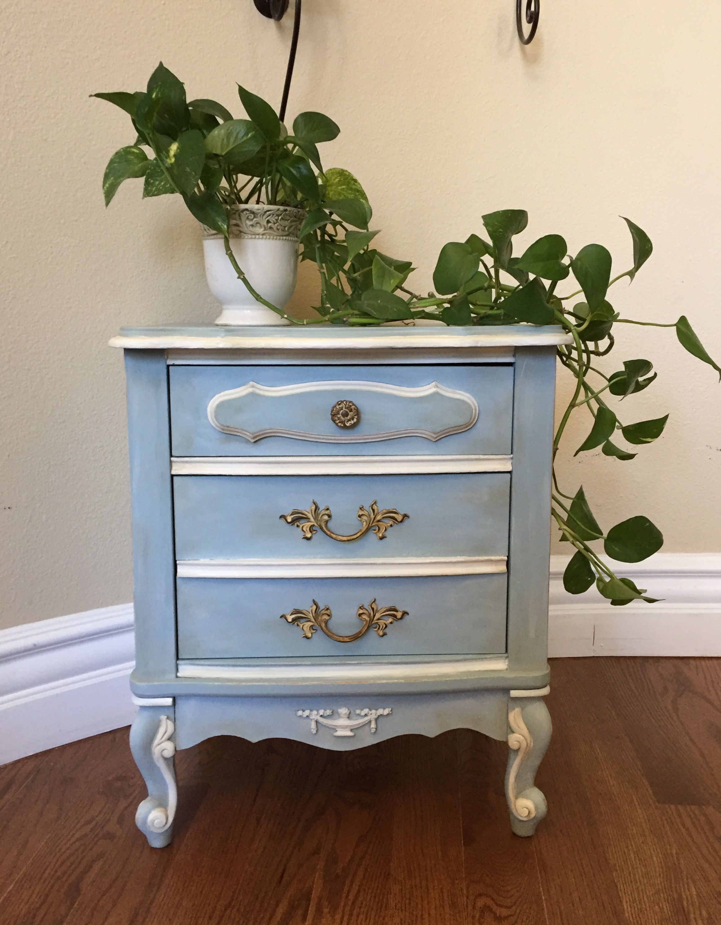 French Provincial Nightstand Chalk Painted In A Beautiful Blue And White French Painted Furniture Furniture Inspiration Painted Furniture