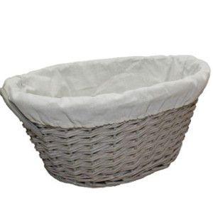 Grey Willow Oval Wicker Washing Basket Lined Washing Basket