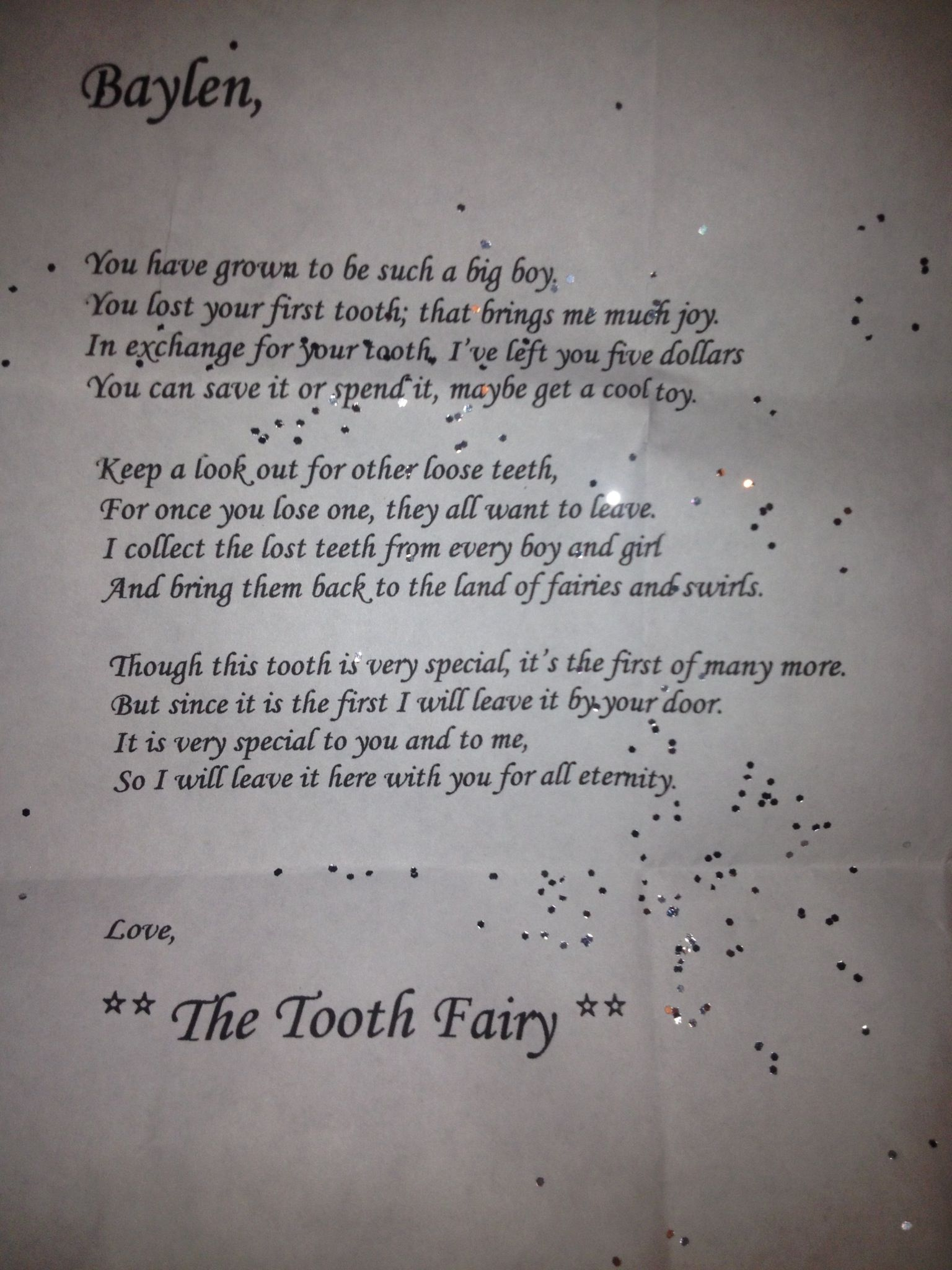 Tooth fairy letter Tooth fairy letter