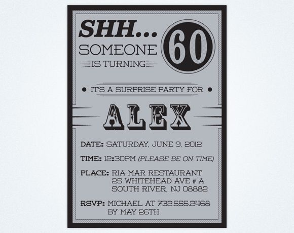 60th Surprise Birthday Party Invitations Surprise birthday