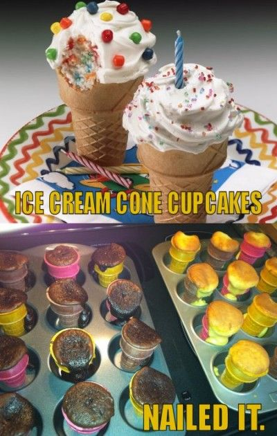 Craft Fail Ice Cream Cone Cupcakes Nailed It With Images Food