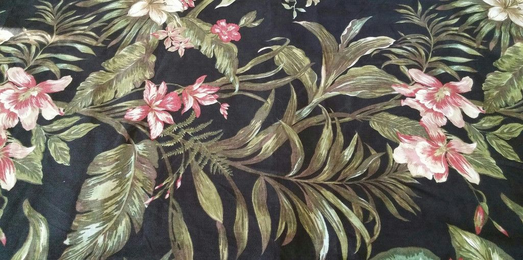 2 Pillow Shams Linens N Things #love  #homedecor, King Size Tropical 100% Cotton Black Background w Flowers Made in India  Gently Used. http://bit.ly/1fGUDSO