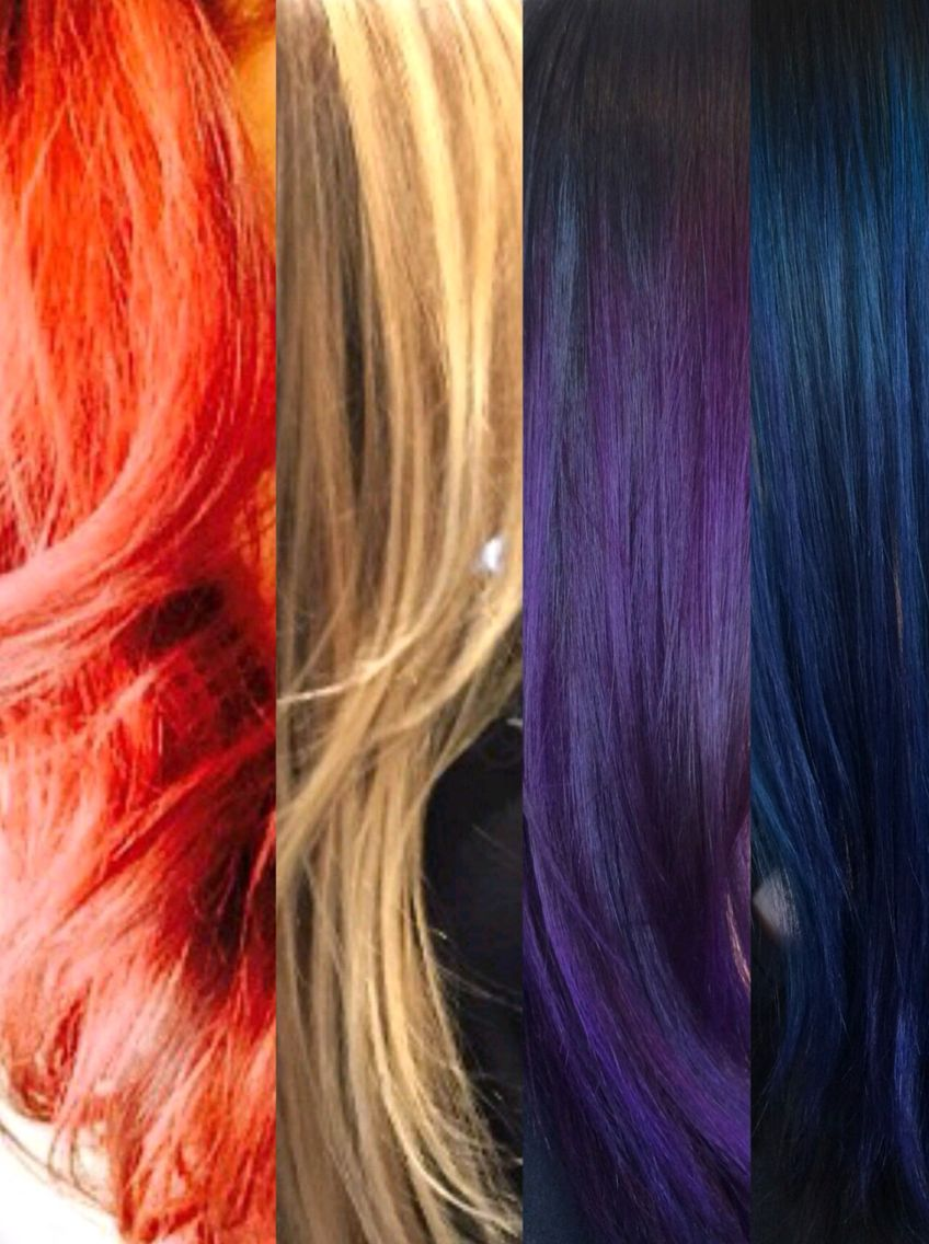 Red Blonde Purple Blue Hair Color Tredorasalonspa Hair