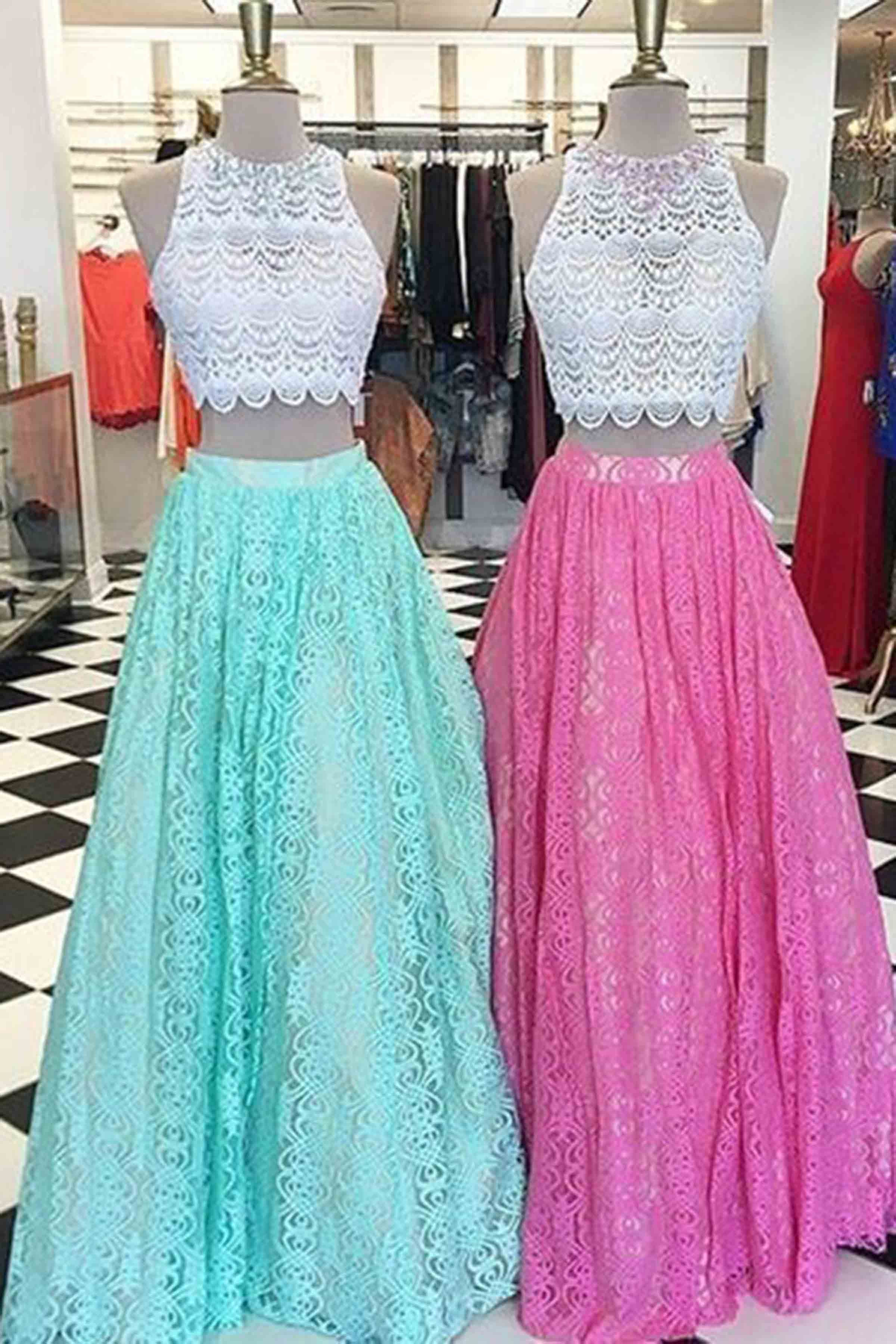 Pretty two pieces round neck A-line long lace prom dress for teens ...