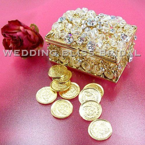 Arras Ceremony Gold Plated Crystal Wedding Box Unity Coins