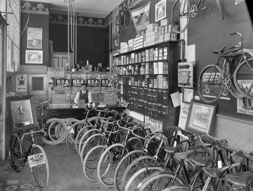 1910 Cycle Shop Interior Christchurch New Zealand B S A Stood For Birmingham Small Arms Photo By Steffa Bicycle Shop Shorpy Historical Photos Bike Shop