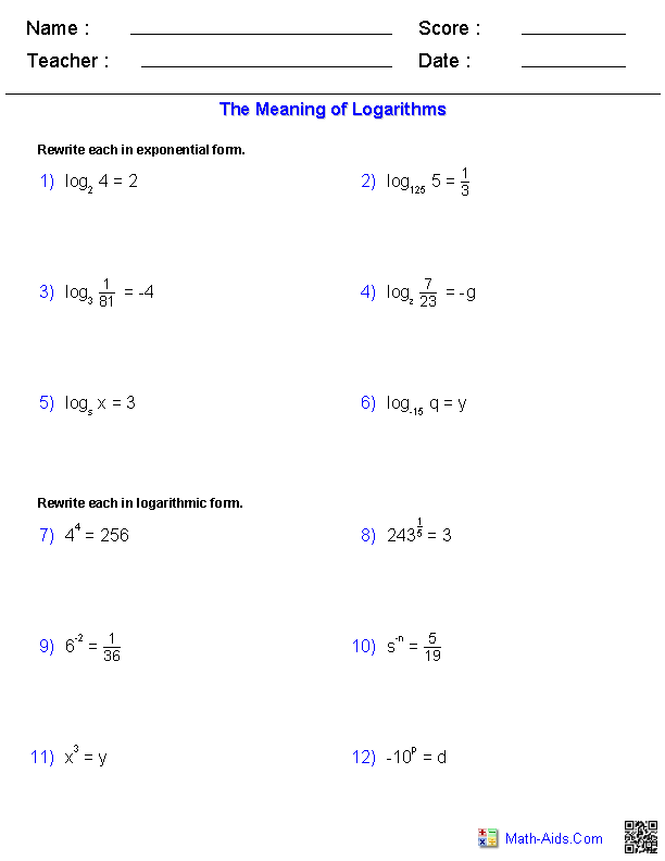 The Meaning of Logarithms Worksheets MathAidsCom – Exponential Function Worksheet