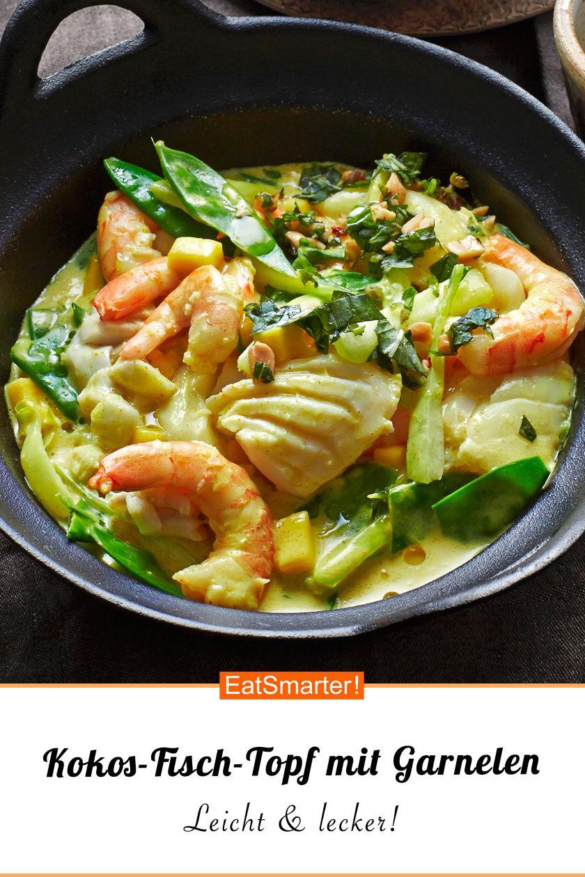 Kokos-Fisch-Topf mit Garnelen #fischrezepte