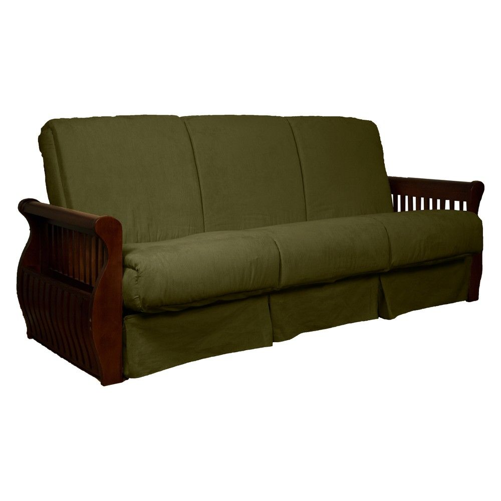 storage arm perfect futon sofa sleeper queen walnut finished wood rh pinterest ca