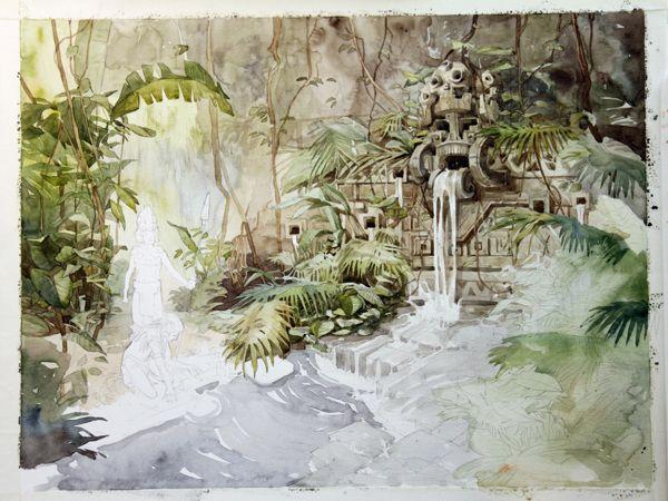 The ancient waterfall by Alexey Samokhin, via Behance