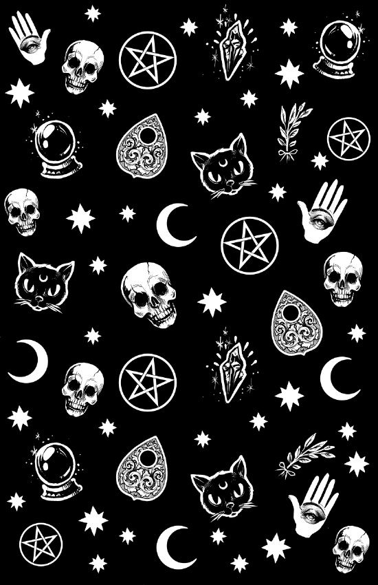 Witch Pattern Art Print By Medusa Dollmaker Society6 Hipster Phone Wallpaper Goth Wallpaper Emo Wallpaper