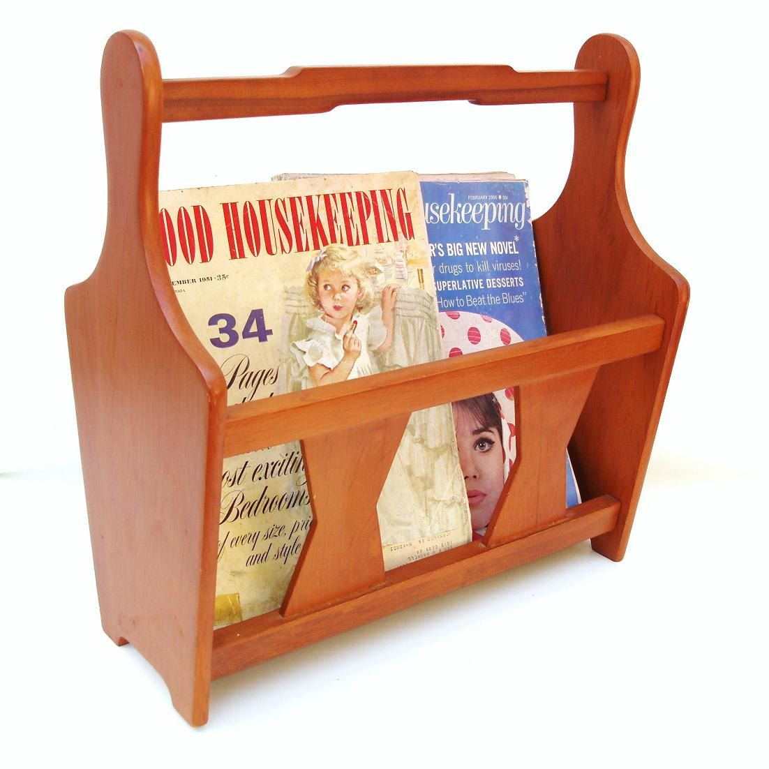 danish style vintage milbern album wood creations holder magazine pin wooden modern rack
