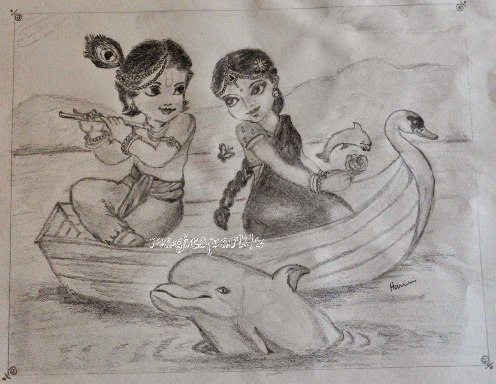 My pencil sketching of cute radha krishna sitting on a boat radha krishna sketch krishna