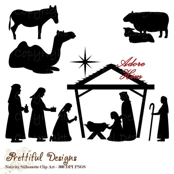 Christmas Nativity Silhouette Clip Art for Commercial Use - Wise ...