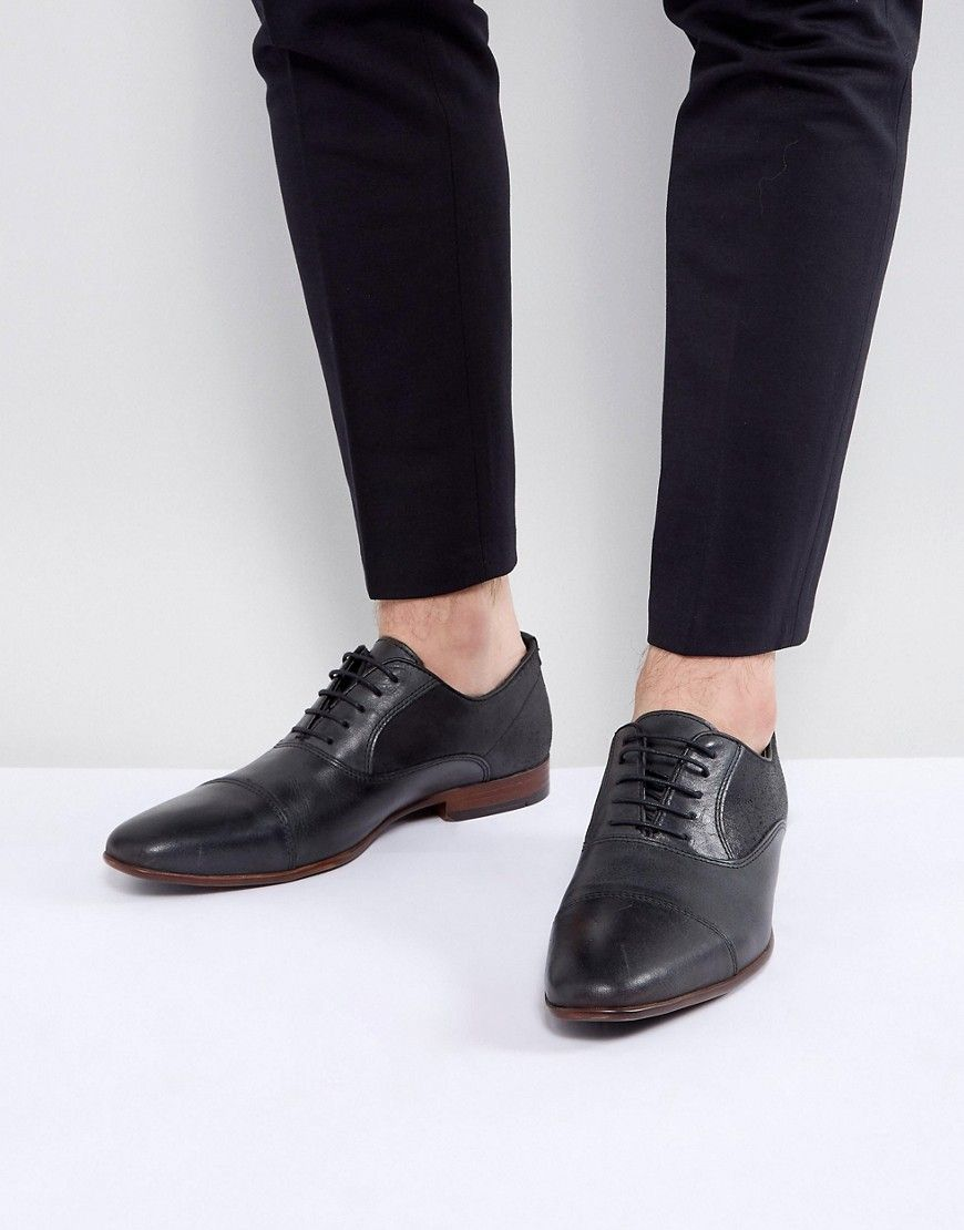 Get this Asos's shoes with laces now! Click for more details  Worldwide  shipping  ASOS Oxford Shoes In Black Leather With Black Suede Detail  Black:  Shoes