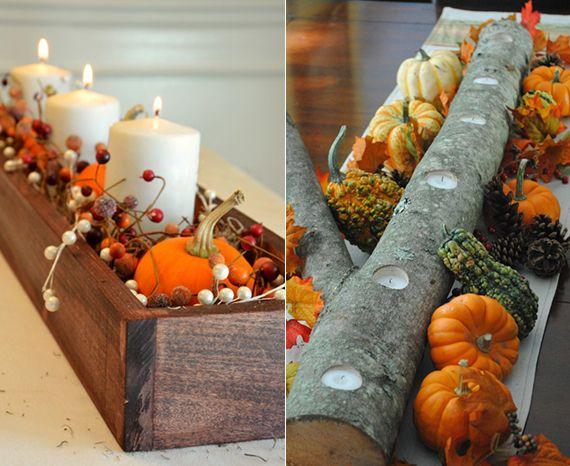 Herbst Deko originelle herbstdeko für den tisch mit diy teelichter aus ast