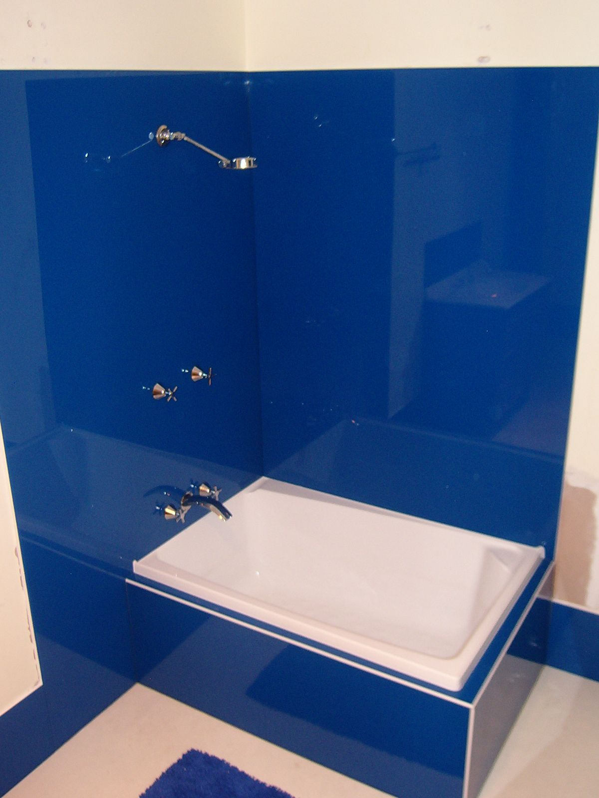 Acrylic Shower Wall and Bathtub in Mondrian Blue.Installed by ...
