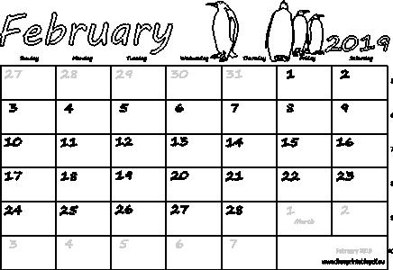 February 2019 Calendar Transparent Printable Calendar for February 2019 Word | Printable Monthly