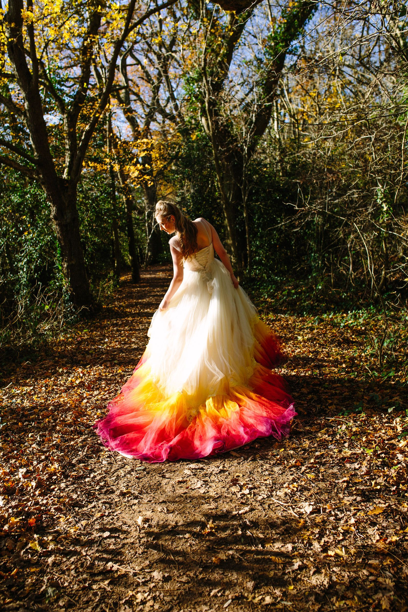 Phoenix Dip Dye Ombre Wedding Dress Silk And Tulle With Lace