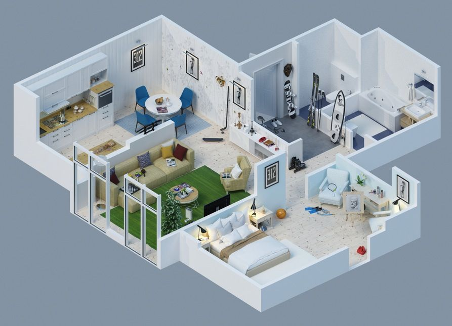 Apartment Designs Shown With Rendered 3D Floor