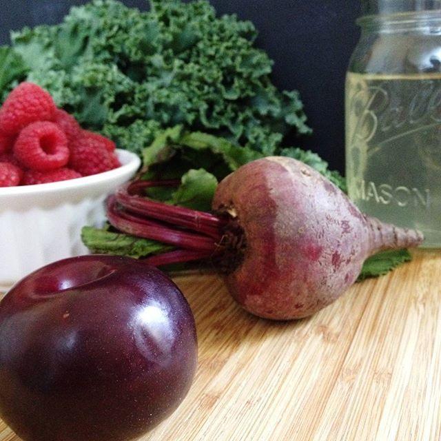 Plumberry Beet Green Smoothie - kale + coconut water + raspberries + plum + beet
