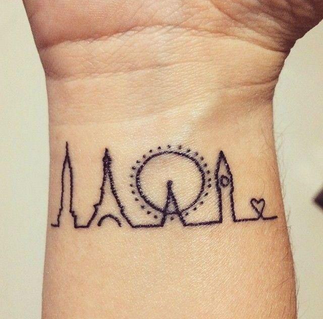 20 Magnificent Skyline Tattoos Sharpie Tattoos Tattoos Skyline Tattoo
