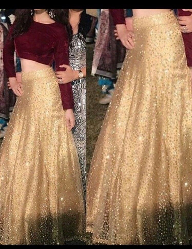 805bb4f7f5b Indian Lehenga Blouse pakistani Wedding Bollywood Embroidery Saree Skirt  Set M