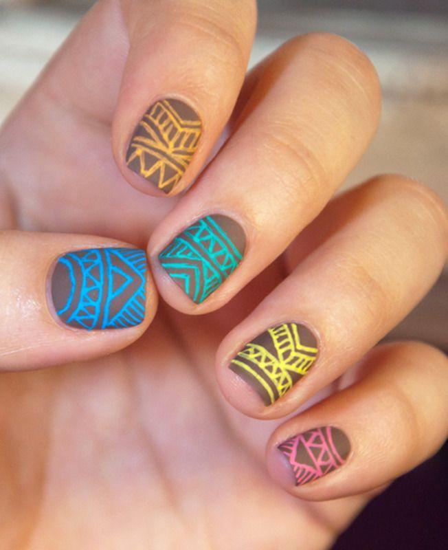 cool Gel Pens Tribal | Nail art by Chasing Shadows (Chasing_Shadows ...