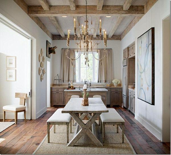 Wohnideen Landhausstil Küche Essplatz Sitzbank Tisch Kreuzbeine