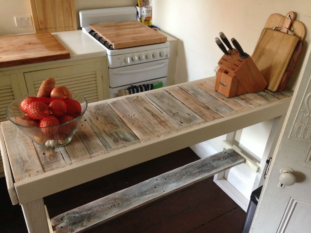 Diy Breakfast Bar Frame Built To An Existing Kitchen Island: Recycled Timber Long Kitchen Island Pallet Bench Breakfast