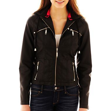 Jou Jou Hooded Zip-Front Faux-Leather Jacket - jcpenney