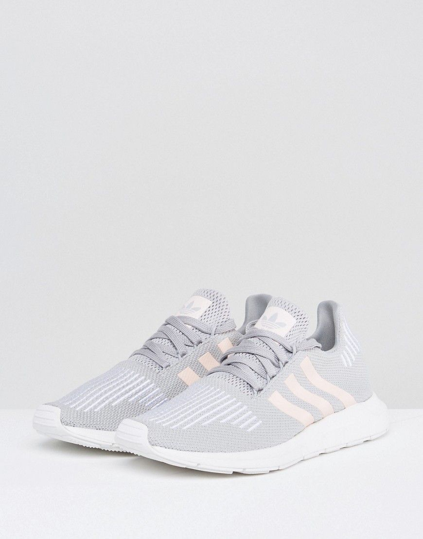 b2f69895 adidas Originals Swift Run Sneakers In Gray With Pink Stripe - Gray ...