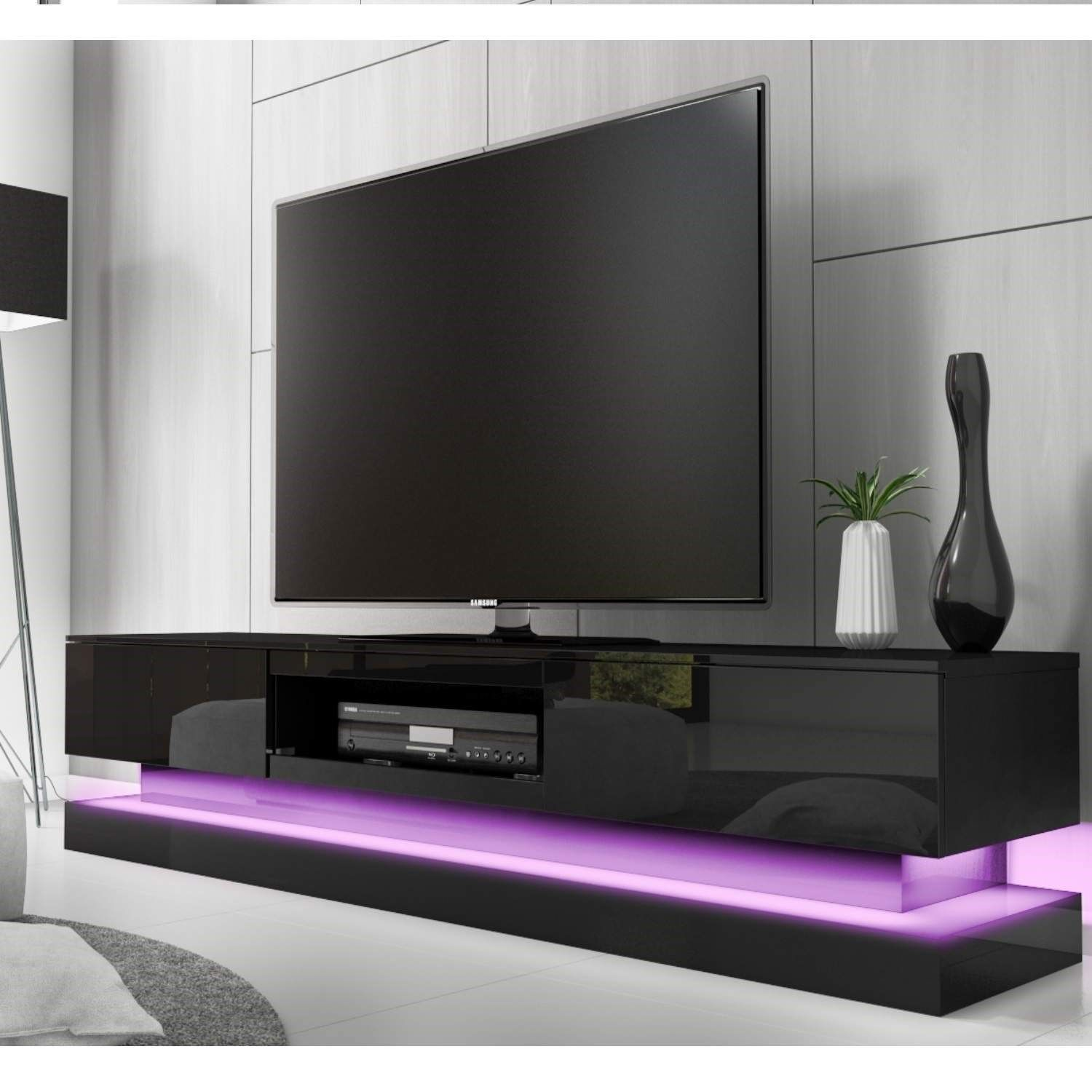 large black gloss tv unit with lower