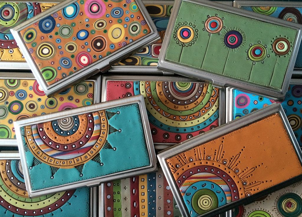 polymer decorated business/credit card holder