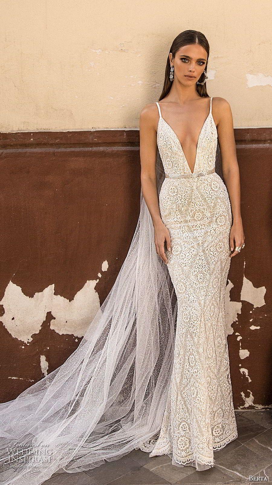 berta fall 2018 bridal sleeveless spaghetti strap deep v neck full  embellishment elegant sexy sheath wedding dress open back sweep train (25)  mv -- Berta ... 84c98cca8580